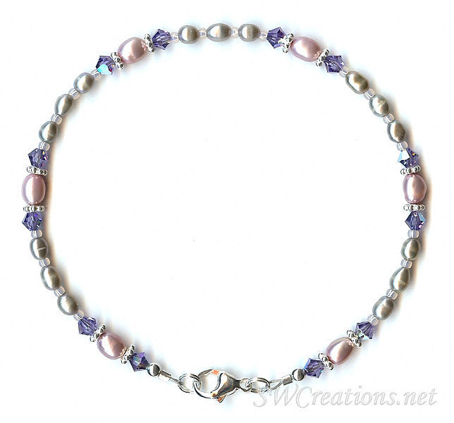 Tanzanite Crystal Mauve Pearl Anklet - SWCreations