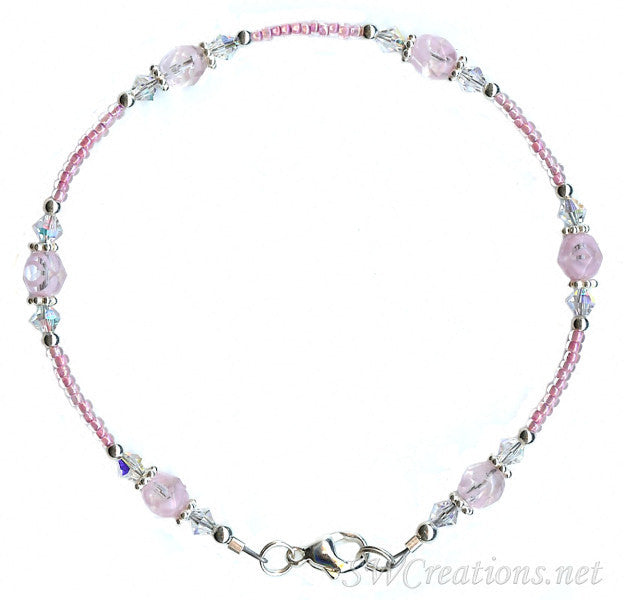 Alluring Pink Crystal Beaded Anklet - SWCreations