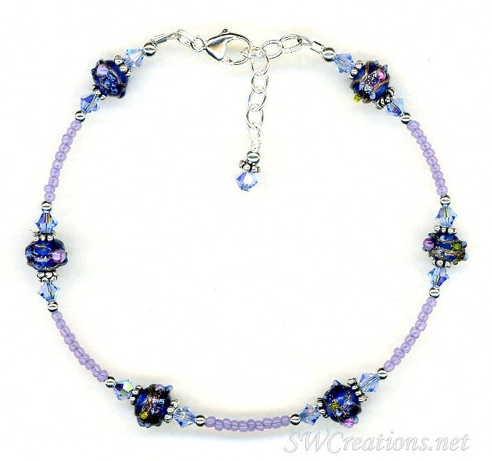 Sapphire Crystal Cobalt Beaded Anklet - SWCreations
