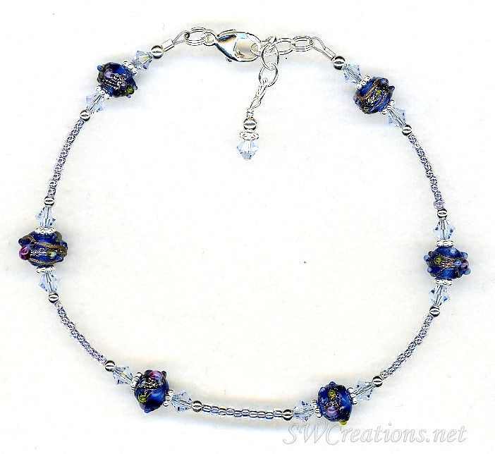 Light Sapphire Cobalt Beaded Anklet - SWCreations
