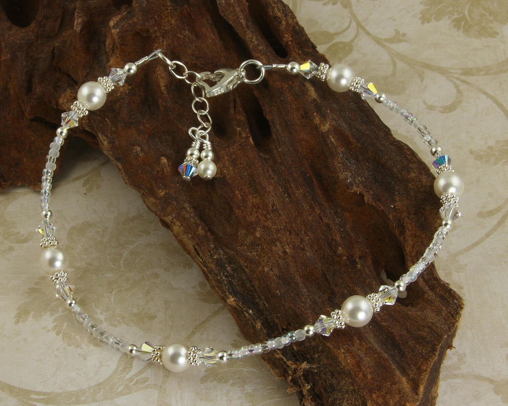 Heart Crystal Pearl Silver Beaded Anklet