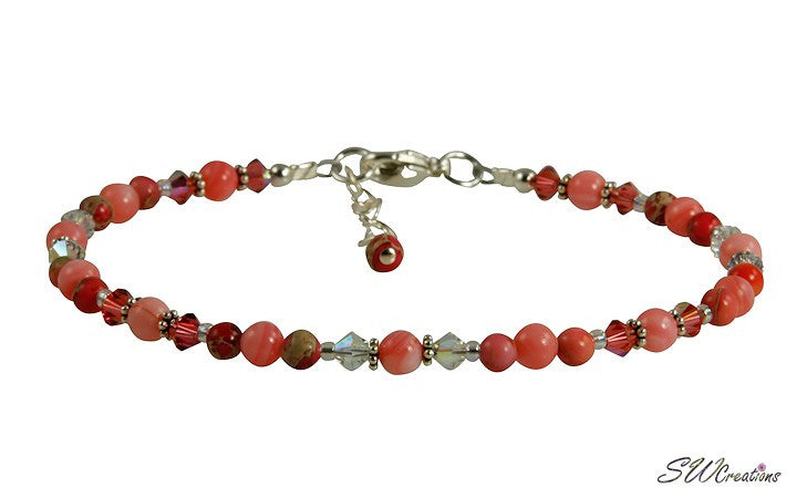 Crystal Pink Coral Beaded Anklet - SWCreations