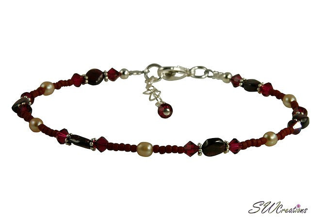 Ruby Pearl Garnet Gemstone Ankle Bracelet - SWCreations
