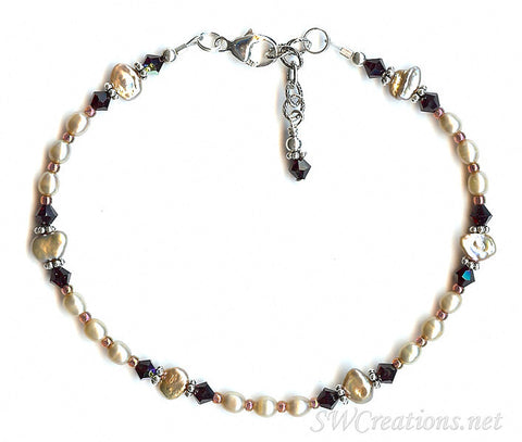 Garnet Crystal Silver Pearl Anklet - SWCreations