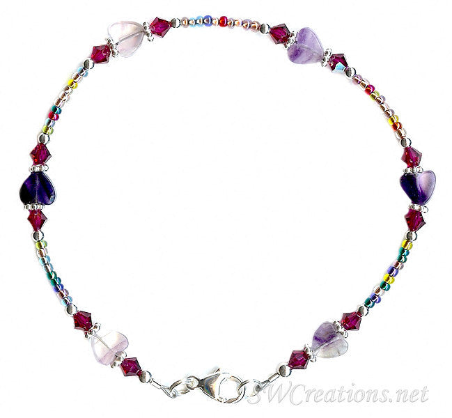 Ruby Crystal Fluorite Gemstone Heart Anklet - SWCreations