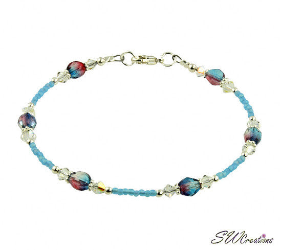 Aqua Pink Swirls Crystal Beaded Anklet - SWCreations