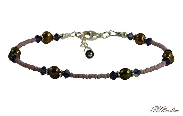 Purple Brown Pearl Beaded Anklet - SWCreations