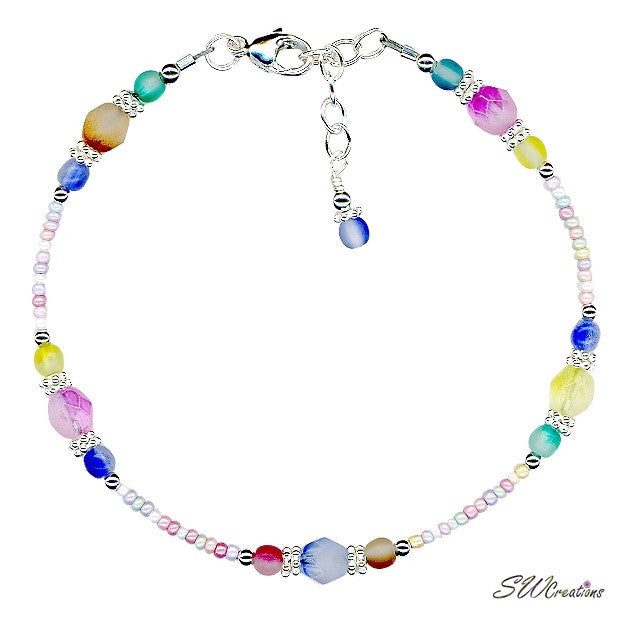 Spring Pastel Crystal Pearl Anklet - SWCreations
