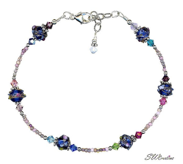 Cobalt Blue Crystal Beaded Anklet - SWCreations