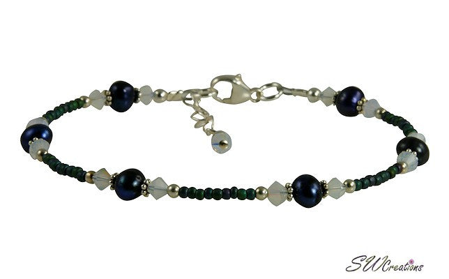 Opal Sapphire Blue Pearl Beaded Anklet - SWCreations