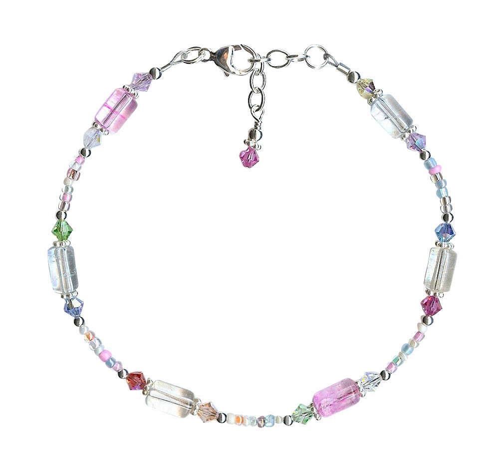 Spring Pastel Glass Crystal Anklet - SWCreations