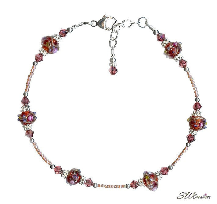 Ruby Pink Crystal Bali Beaded Anklet - SWCreations