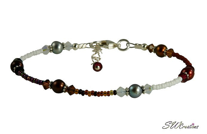 Autumn Colors Pearl Beaded Anklet - SWCreations