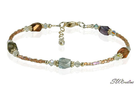 Earth-tone Crystal Glass Beaded Anklet - SWCreations