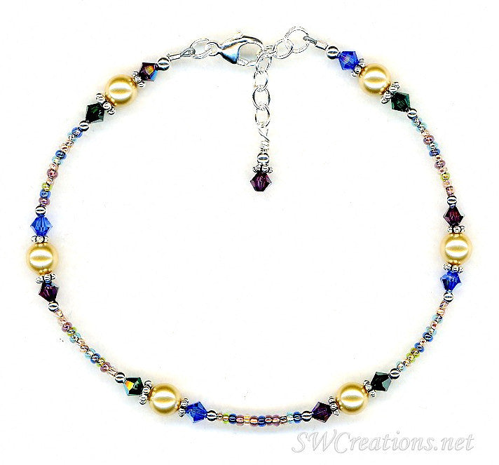 Gold Ocean Crystal Beaded Anklet - SWCreations