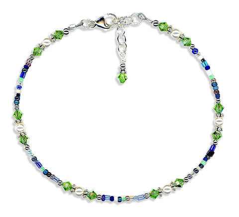 Peridot Crystal Pearl Mix Beaded Anklet - SWCreations