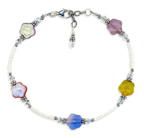 Spring Flower Crystal Bali Anklet - SWCreations