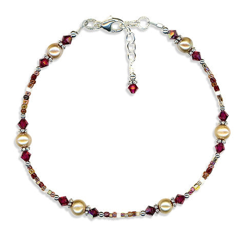 Ruby Gold Pearl Bali Beaded Anklet - SWCreations