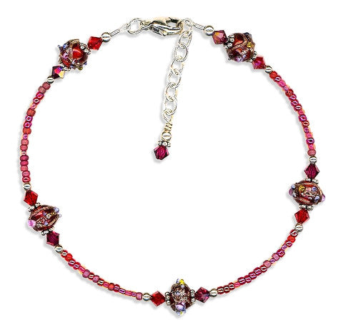 Ruby Red Lampwork Bali Anklet - SWCreations