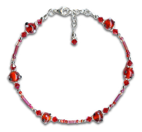 Red Glass Crystal Silver Beaded Anklet - SWCreations
