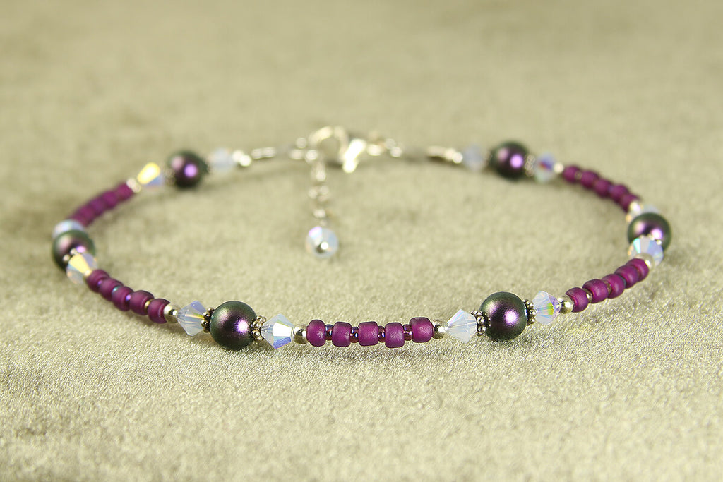 Clematis Purple Opal Beaded Anklet