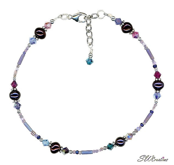 Crystal Purple Pearl Beaded Anklet - SWCreations
