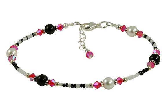 All Jazzed Up Pink Zebra Beaded Anklet - SWCreations