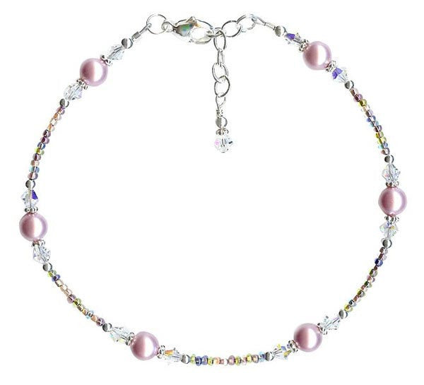 Alluring Rose Mauve Sunset Crystal Pearl Anklet - SWCreations