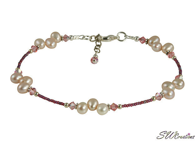 Mauve Pearl Vintage Rose Crystal Creations Anklet - SWCreations