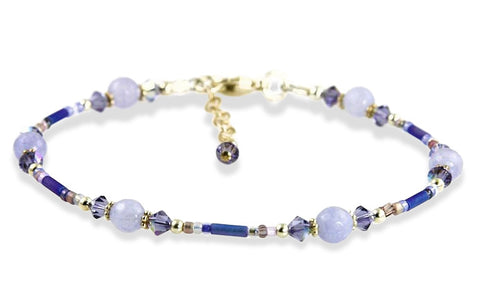 Captivating Tanzanite Crystal Jade Beaded Anklet - SWCreations