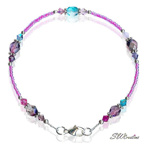 Rhapsody in Blue Crystal Medley Anklet - SWCreations
