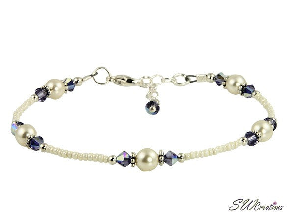 Tanzanite Cream Rose Crystal Pearl Anklet - SWCreations