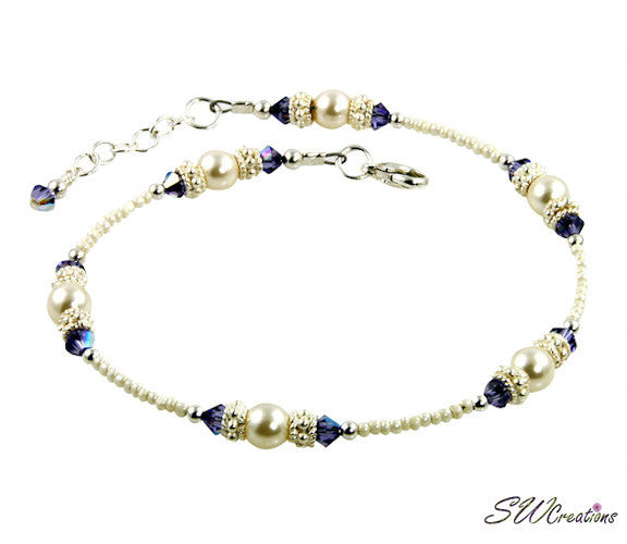 Tanzanite Cream Rose Crystal Beaded Anklet - SWCreations