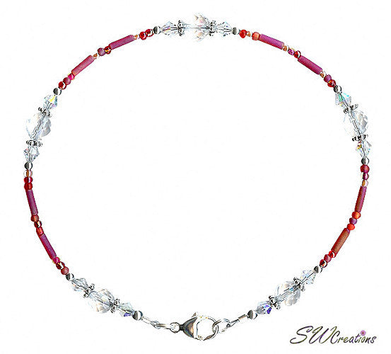 Designer Red Rock Crystal Beaded Anklet - SWCreations