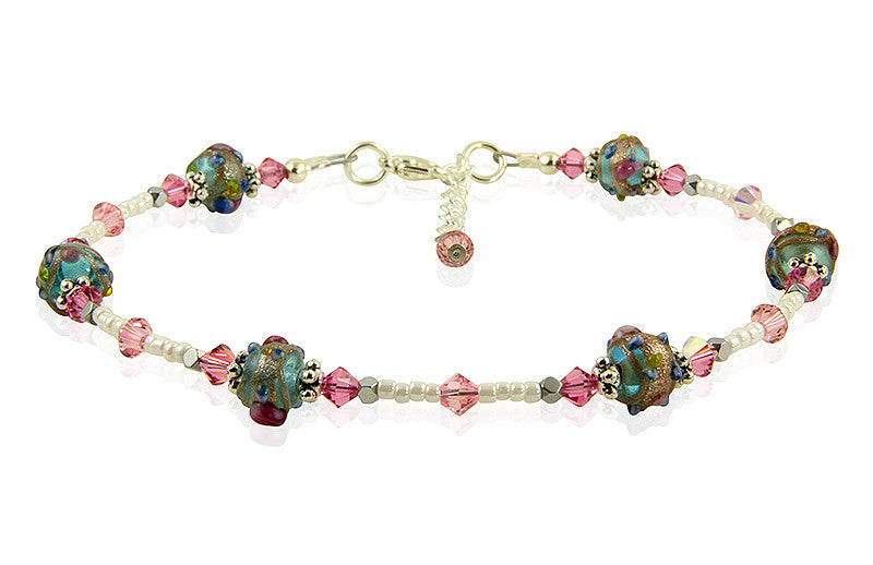 Roselily Pink Lampwork Bead Anklet - SWCreations