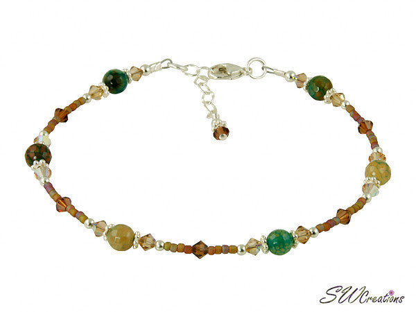 Topaz Fire Agate Gemstone Beaded Anklet - SWCreations
