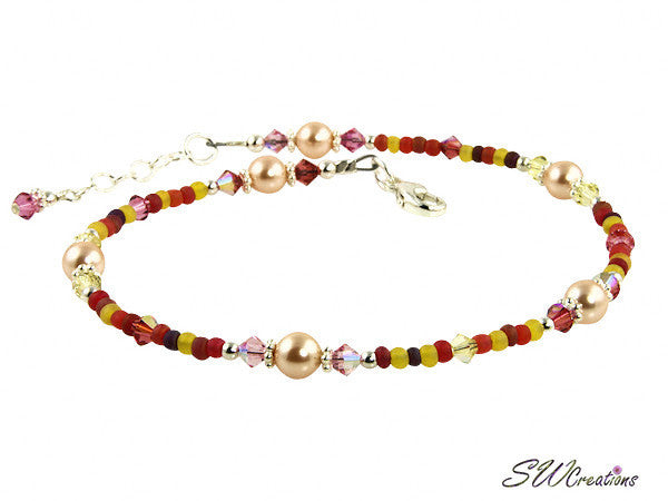 Hibiscus Crystal Pearl Beaded Anklet - SWCreations