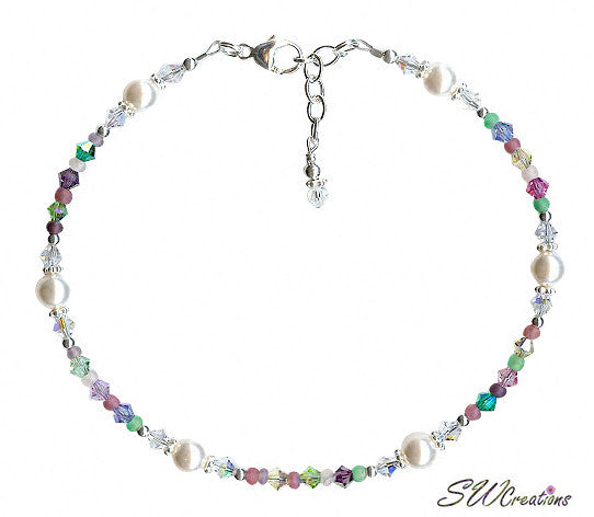 Spring Breeze Pastel Crystal Pearl Beaded Anklet - SWCreations