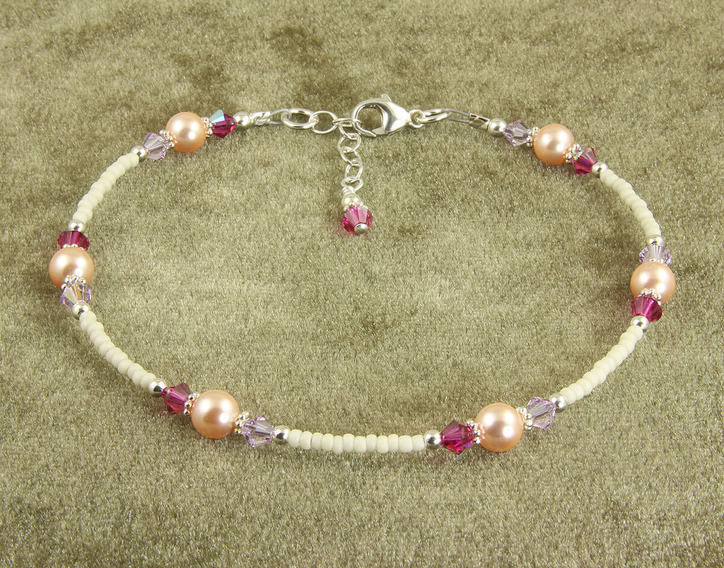 Fuchsia Lavender Peach Crystal Pearl Anklet