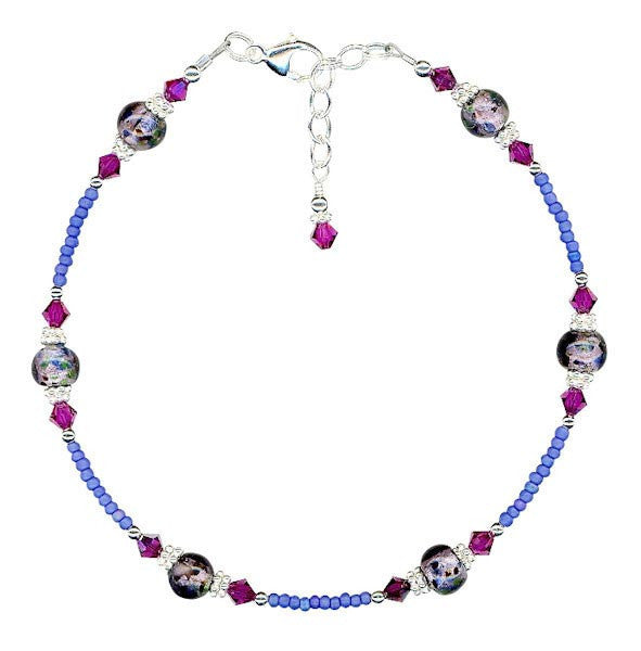 Amethyst Glass Fuchsia Crystal Anklet - SWCreations