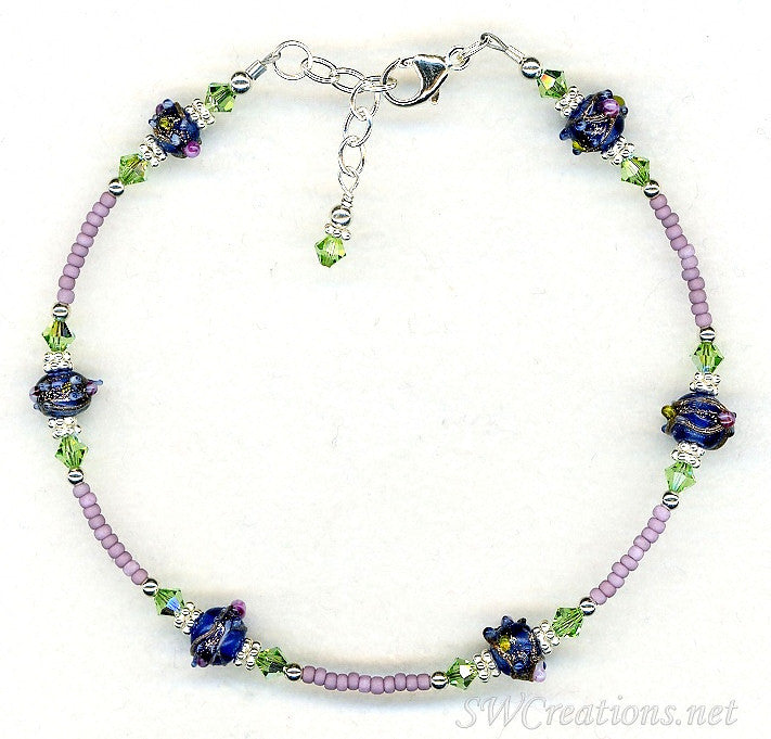 Peridot Crystal Cobalt Beaded Anklet - SWCreations