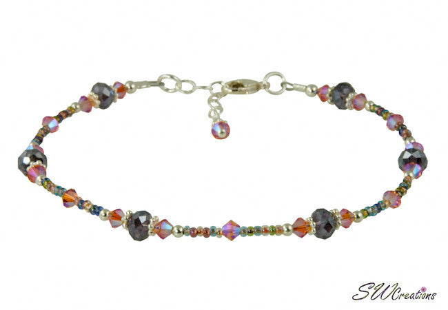 Lobelia Tanzanite Peach Crystal Beaded Anklet - SWCreations