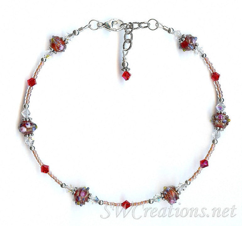 Rose of Sharon Crystal Beaded Anklet - SWCreations