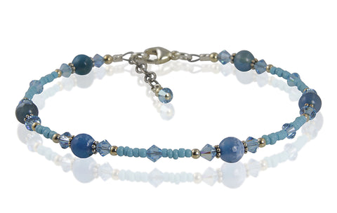 Aqua Blue Agate Gemstone Anklet - SWCreations