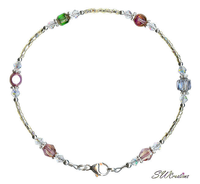 Czech Medley Crystal Gold Silver Crystal Anklet - SWCreations