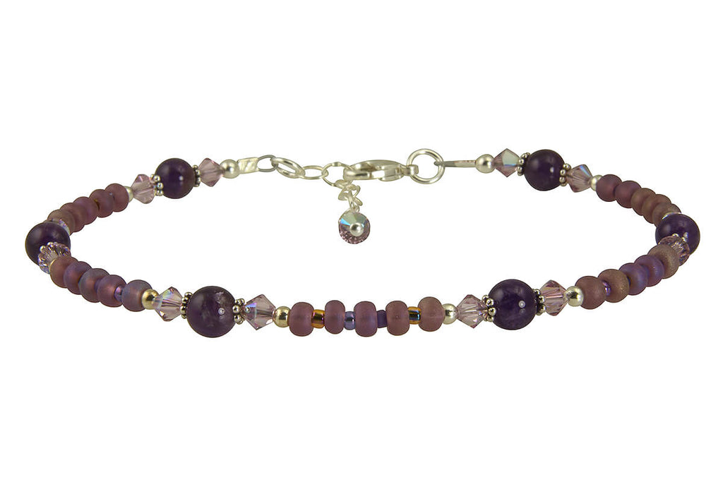 Crystal Amethyst Gemstone Beaded Anklet