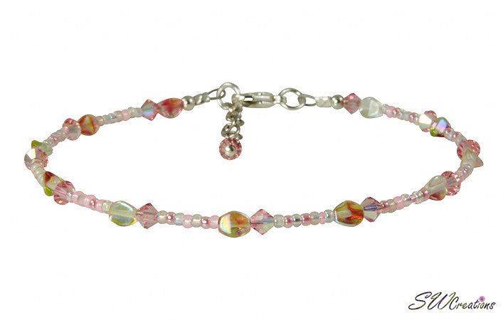 Summer Hibiscus Pink Beaded Anklet - SWCreations