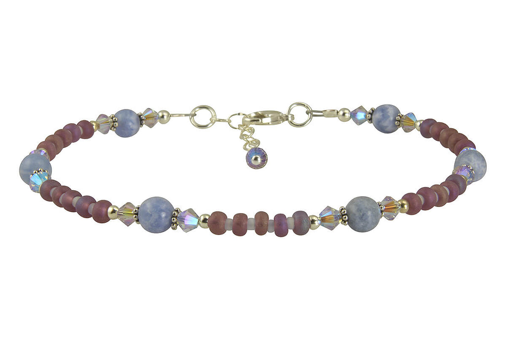 Crystal Blue Lace Agate Gemstone Anklet