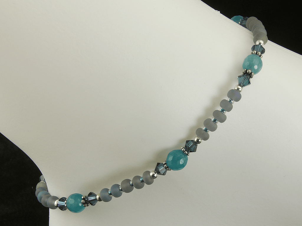 Teal Green Agate Gemstone Anklet