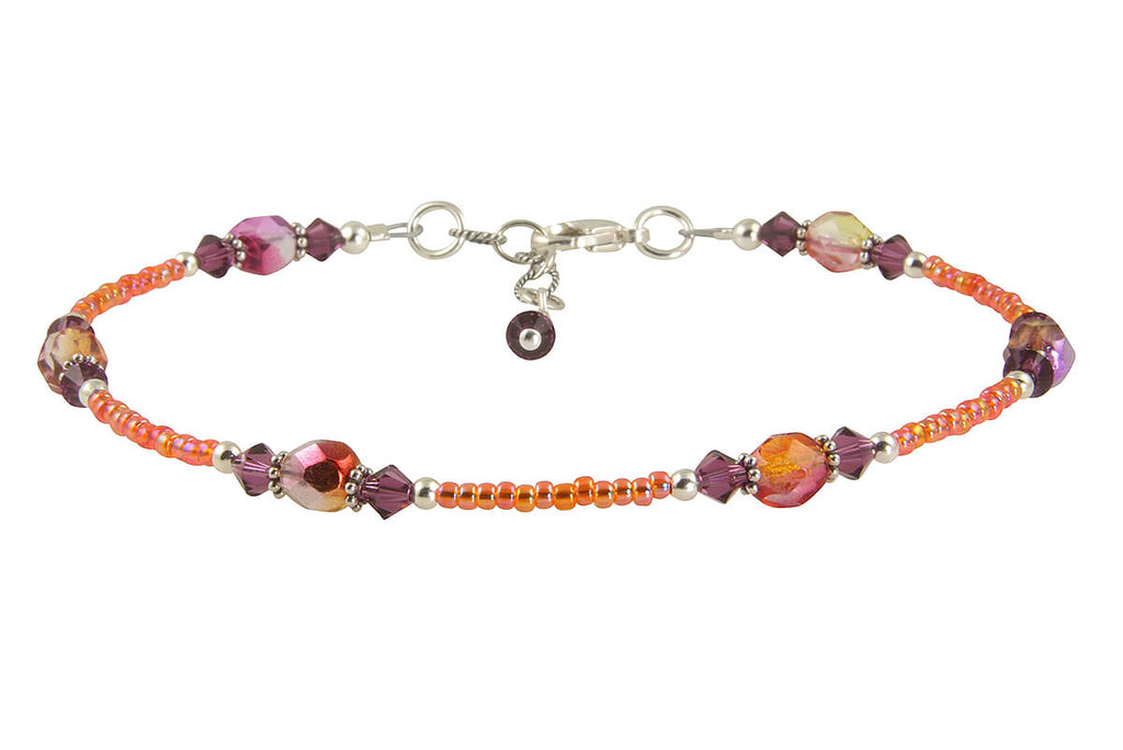 Sunset Amethyst Orange Beaded Anklet